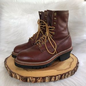Red Wing shoes insulated leather lace + cap boots